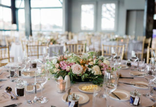 Wedding reception flowers at Pier One Sydney Harbour Water Room, Photo by Ballyhoo Photography