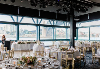 Wedding reception at Pier One Sydney Harbour Water Room, Photo by Ballyhoo Photography