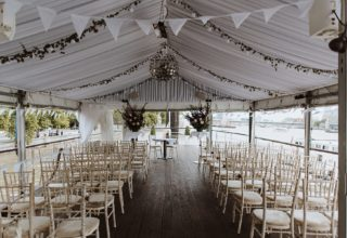The Yacht London Event and Wedding Venue, Ceremony Set Up on Top Deck Bar and Terrace