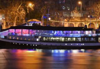 The Yacht London Wedding and Event Venue, Nighttime Moored