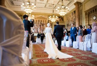 Royal Horseguards Hotel London Events and Wedding Venue, Reading and Writing Room Wedding Ceremony Aisle