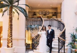 The Landmark Hotel Wedding Venue, Staircase to Winter Garden, Photography by Terry Li