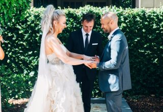 Wedding ceremony outdoors at Park Hyatt Melbourne Photo by Love and Other Photography