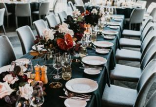 Metropolis Wedding Reception Teal Dinner Tables Photo By MirandaStokkel
