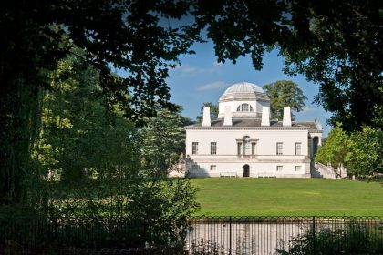 Exterior view from the gardens at Chiswick House, Wedding + Event Venue, West London