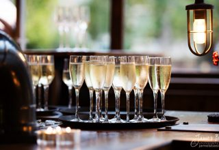 Champagne at St Bart's Brewery London Wedding and Event Venue, James Basire Photography