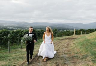 Levantine Hill gorgeous winery wedding photo by Erin & Tara couple portraits