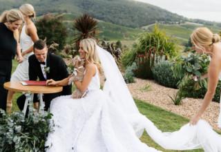 Stunning Yarra Valley winery wedding at Levantine Hill photo by Erin & Tara ceremony signing