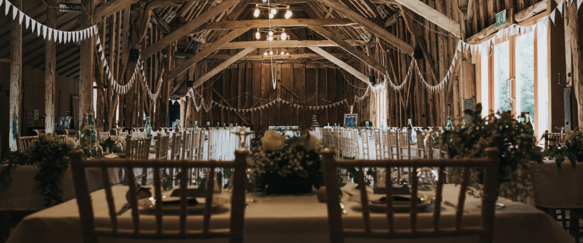Wedding reception set up at The Tythe Barn, Rustic Wedding Venue