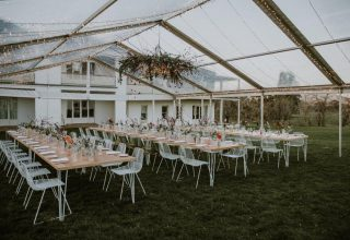 Open air marquee at Chateau Yering in Yarra Valley, photo by Elsa Campbell