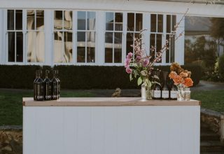 Outdoor wine bar at Chateau Yering Yarra Valley Melbourne, Photo by Elsa Campbell
