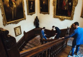 Ironmongers' Hall Wedding Venue, Staircase, Photography by Lydnsey Goddard
