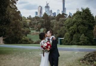 Melbourne city skyline backdrop at The Terrace RBG weddings