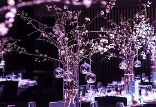 In-house styling at Crowne Plaza Melbourne weddings Pearl Riverfront black event decor