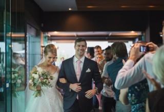 Bride and groom at Jardin Tan Royal Botanic Gardens Melbourne wedding