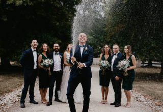Vue on Halcyon Wedding Party Champagne Pop Photo by Brendan Creaser Photography