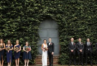 Sydney Urban Winery Wedding Bridal Party Outside Ivy Walls