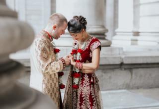 London Banking Hall Indian Wedding Couple Outside Photo by Epic Moments UK