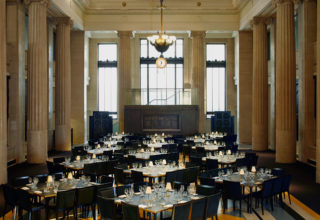 Banking Hall London Events Corporate Party Square Tables