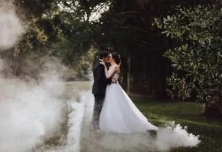 Bundaleer Rainforest Gardens Brisbane Wedding Venue Couple Outside Fog