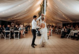 Bundaleer Rainforest Gardens Brisbane Wedding Venue Couple Dancing Marquee