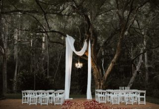 Bundaleer Rainforest Gardens Brisbane Wedding Venue Jacaranda Tree White Cloth