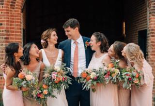 Bridesmaids-in-pink-mismatch-dresses