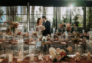 The Island Gold Coast, Surfers Paradise, Waterfront Wedding Venue, The Glasshouse, Couple Kiss, Floral