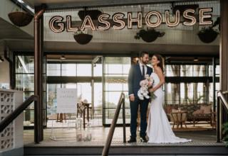 The Island Gold Coast, Surfers Paradise, Waterfront Wedding Venue, The Glasshouse, Exterior Couple Outside