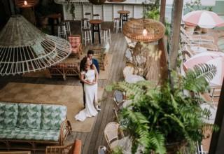 The Island Gold Coast, Surfers Paradise, Waterfront Wedding Venue, Pool Deck Lights Couple