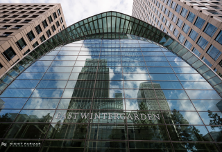 East Wintergarden Canary Wharf London, exterior view, Photo by Nishit Parmar
