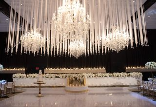 Wedding reception styling, white ceiling installation, at ivy Ballroom by Merivale